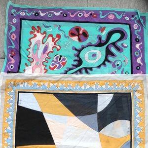 Two Emilio Pucci Cotton Square Handkerchiefs
